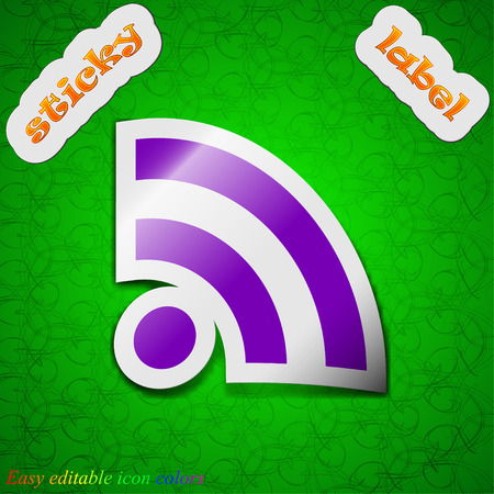 rss feed: RSS feed  icon sign. Symbol chic colored sticky label on green background. Vector illustration