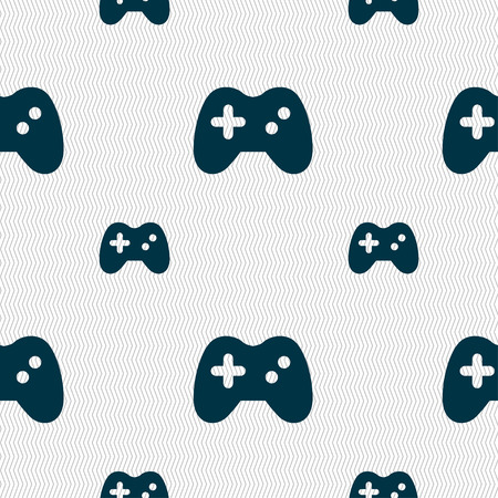 quality controller: Joystick icon sign. Seamless pattern with geometric texture. Vector illustration Illustration