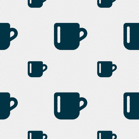 tasse caf�: cup coffee or tea icon sign. Seamless pattern with geometric texture. Vector illustration