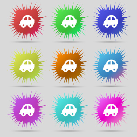 hatchback: Auto icon sign. A set of nine original needle buttons. Vector illustration Illustration
