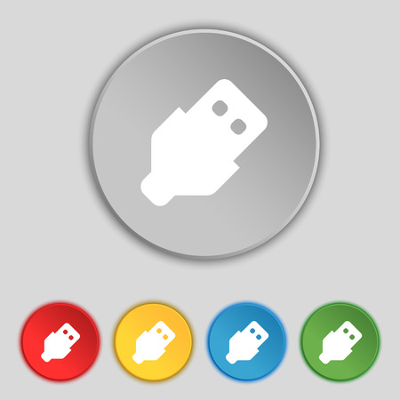 sign symbol: USB icon sign. Symbol on five flat buttons. Vector illustration