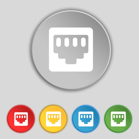 interconnect: cable rj45, Patch Cord icon sign. Symbol on five flat buttons. Vector illustration