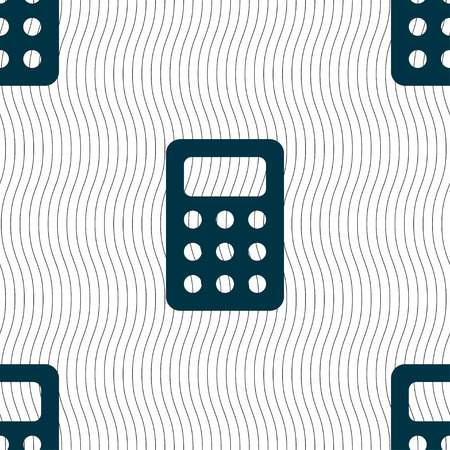 bookkeeping: Calculator, Bookkeeping icon sign. Seamless pattern with geometric texture. Vector illustration Illustration