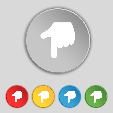 www arm: pointing hand icon sign. Symbol on five flat buttons. Vector illustration