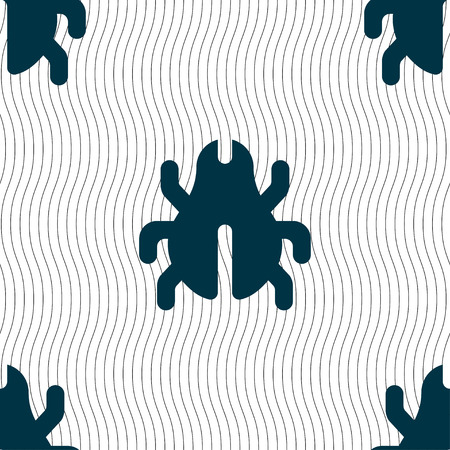 disinfection: Software Bug, Virus, Disinfection, beetle icon sign. Seamless pattern with geometric texture. Vector illustration