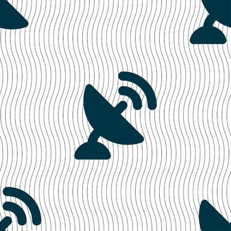 high speed internet: satellite antenna icon sign. Seamless pattern with geometric texture. Vector illustration Illustration