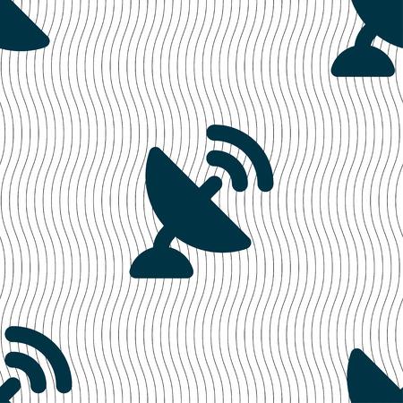 represent: satellite antenna icon sign. Seamless pattern with geometric texture. Vector illustration Illustration