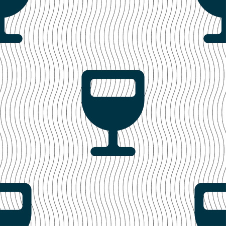 habit: Wine glass, Alcohol drink icon sign. Seamless pattern with geometric texture. Vector illustration
