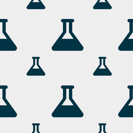 conical: Conical Flask icon sign. Seamless pattern with geometric texture. Vector illustration