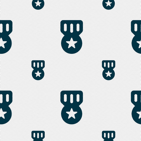 merit: Award, Medal of Honor icon sign. Seamless pattern with geometric texture. Vector illustration Illustration