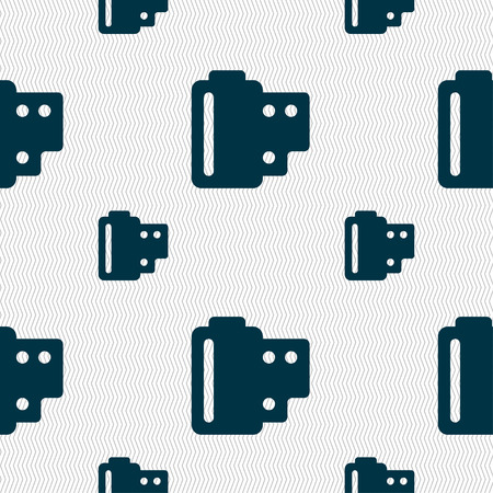 35 mm: 35 mm negative films icon sign. Seamless pattern with geometric texture. Vector illustration Illustration