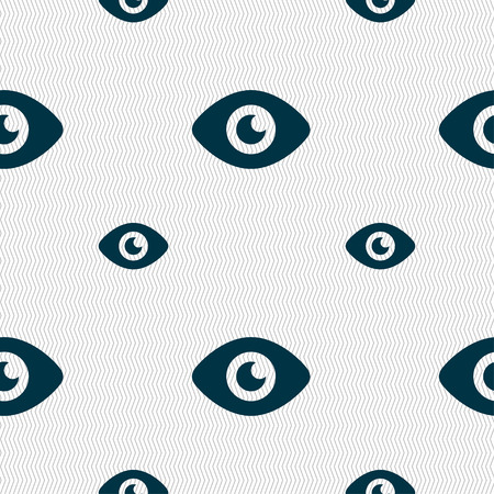 publish: Eye, Publish content icon sign. Seamless pattern with geometric texture. Vector illustration