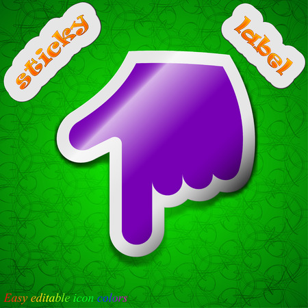 pointing hand  icon sign. Symbol chic colored sticky label on green background. Vector illustration Vector