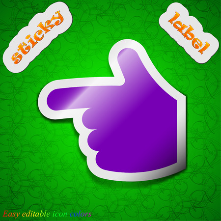 www arm: pointing hand  icon sign. Symbol chic colored sticky label on green background. Vector illustration