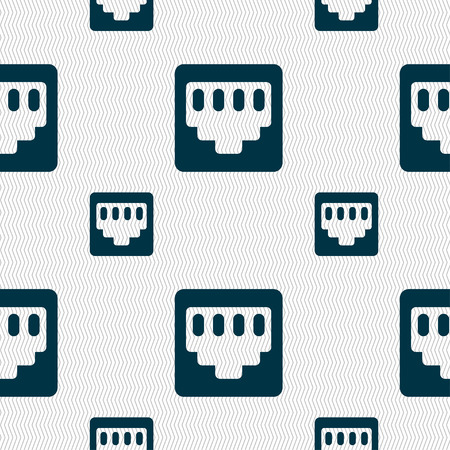 interconnect: cable rj45, Patch Cord icon sign. Seamless pattern with geometric texture. Vector illustration
