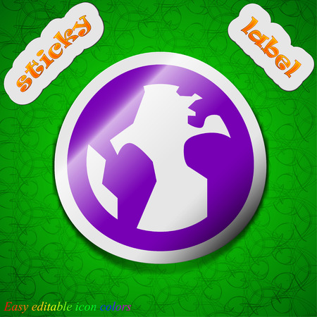 geography background: Globe, World map geography  icon sign. Symbol chic colored sticky label on green background. Vector illustration