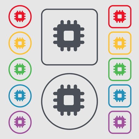 micro chip: Central Processing Unit icon sign. symbol on the Round and square buttons with frame. Vector illustration