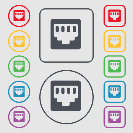 interconnect: cable rj45, Patch Cord icon sign. symbol on the Round and square buttons with frame. Vector illustration Illustration