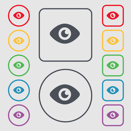 publish: Eye, Publish content icon sign. symbol on the Round and square buttons with frame. Vector illustration