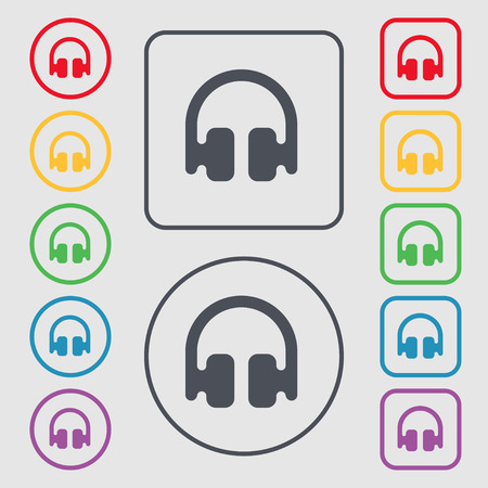 earphones: Headphones, Earphones icon sign. symbol on the Round and square buttons with frame. Vector illustration