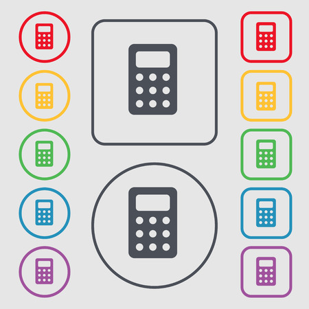 bookkeeping: Calculator, Bookkeeping icon sign. symbol on the Round and square buttons with frame. Vector illustration