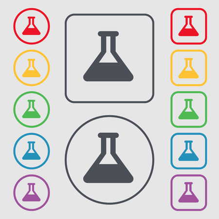 conical: Conical Flask icon sign. symbol on the Round and square buttons with frame. Vector illustration