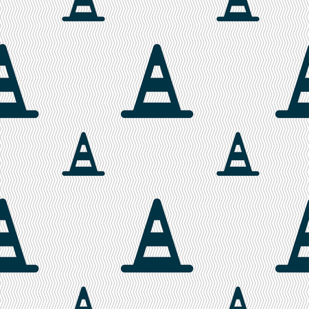 marking: road cone icon sign. Seamless pattern with geometric texture. Vector illustration