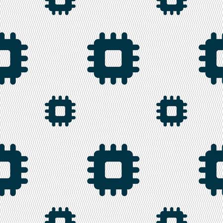 micro chip: Central Processing Unit icon sign. Seamless pattern with geometric texture. Vector illustration
