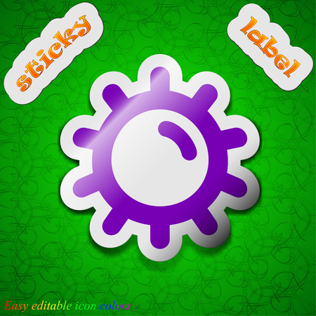 solarium: Sun  icon sign. Symbol chic colored sticky label on green background. Vector illustration Illustration