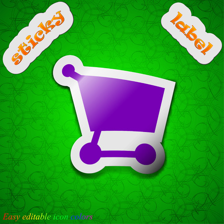 net trade: Shopping basket  icon sign. Symbol chic colored sticky label on green background. Vector illustration Illustration
