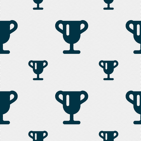 awarding: Winner cup, Awarding of winners, Trophy icon sign. Seamless pattern with geometric texture. Vector illustration