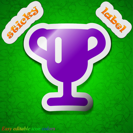 awarding: Winner cup, Awarding of winners, Trophy  icon sign. Symbol chic colored sticky label on green background. Vector illustration