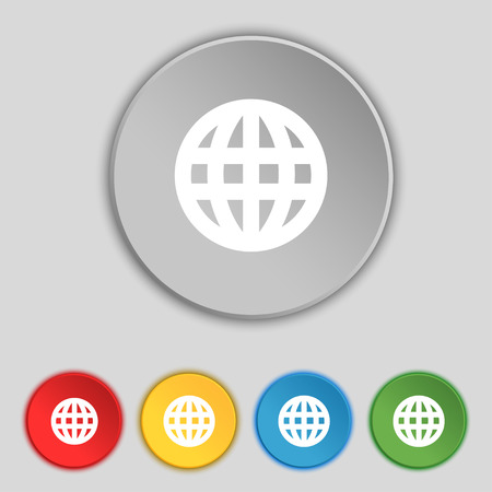 geography: Globe, World map geography icon sign. Symbol on five flat buttons. Vector illustration