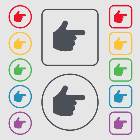 pointing hand icon sign. symbol on the Round and square buttons with frame. Vector illustration Vector