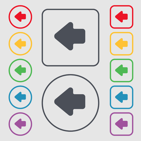 way out: Arrow left, Way out icon sign. symbol on the Round and square buttons with frame. Vector illustration