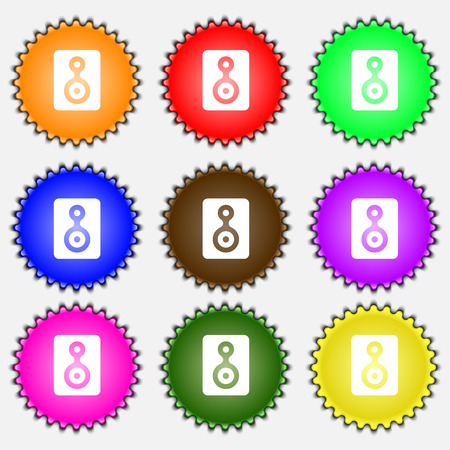 vcr: Video Tape  icon sign. A set of nine different colored labels. Vector illustration