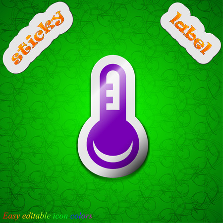 hotness: Thermometer, Temperature  icon sign. Symbol chic colored sticky label on green background. Vector illustration