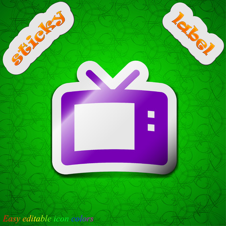 mode: Retro TV mode  icon sign. Symbol chic colored sticky label on green background. Vector illustration