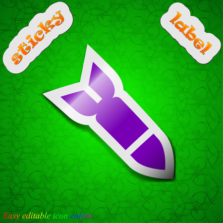 ballistic missile: Missile,Rocket weapon  icon sign. Symbol chic colored sticky label on green background. Vector illustration Illustration