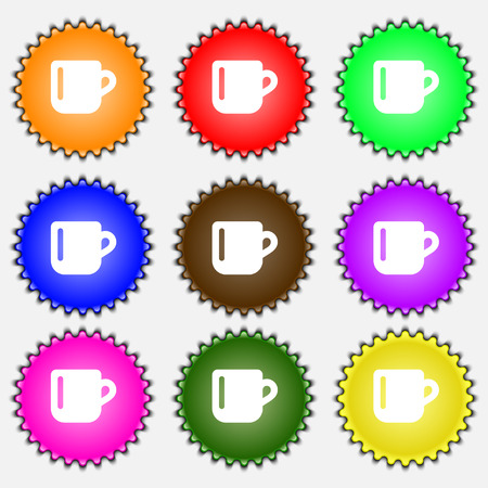 cup of coffee: cup coffee or tea  icon sign. A set of nine different colored labels. Vector illustration