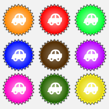 racing sign: Auto  icon sign. A set of nine different colored labels. Vector illustration