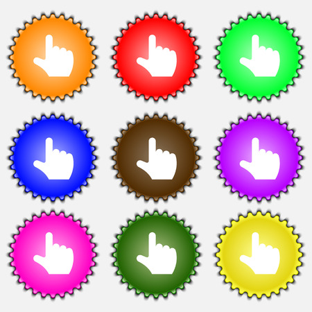 www arm: pointing hand  icon sign. A set of nine different colored labels. Vector illustration Illustration