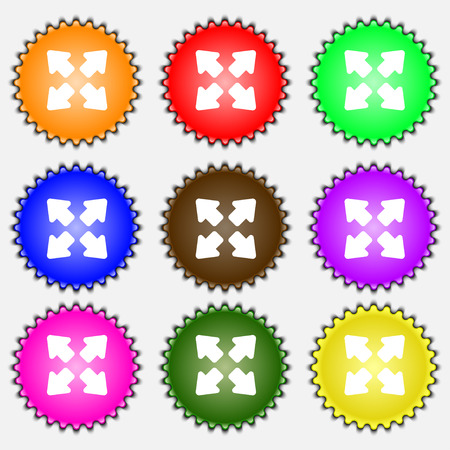 full size: Deploying video, screen size  icon sign. A set of nine different colored labels. Vector illustration