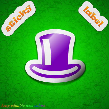 cylinder hat  icon sign. Symbol chic colored sticky label on green background. Vector illustration