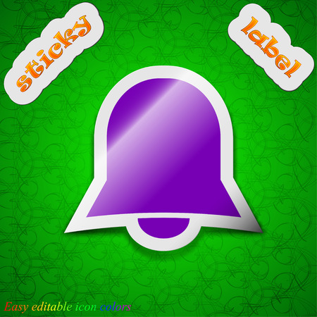 wake up call: Alarm bell  icon sign. Symbol chic colored sticky label on green background. Vector illustration