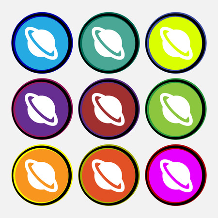 globus: Jupiter planet  icon sign. Nine multi-colored round buttons. Vector illustration