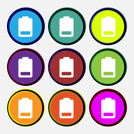 electricity icon: Battery low level, Electricity  icon sign. Nine multi-colored round buttons. Vector illustration