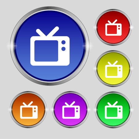 television aerial: Retro TV icon sign. Round symbol on bright colourful buttons. Vector illustration
