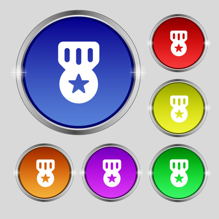 merit: Award, Medal of Honor icon sign. Round symbol on bright colourful buttons. Vector illustration