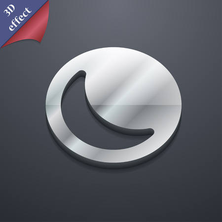 Moon Icon Symbol 3d Style Trendy Modern Design With Space